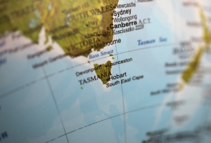 Closeup of Tasmania on a world globe. Deliberate Shallow depth of field